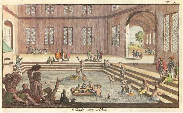 Men in spas back in the 17th Century